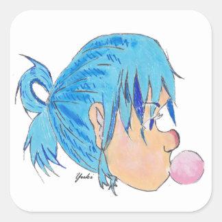Adesivo Quadrado Adolescente fundindo uma bolha com goma