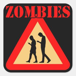 Adesivo Quadrado Adolescentes do zombi com telemóveis