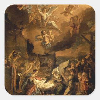 Adesivo Quadrado Adoração do Natal das belas artes dos pastores
