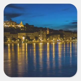 Adesivo Quadrado Água da reflexão de Budapest Danube River no PH da