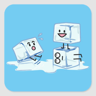 Adesivo Quadrado água gelada do cubo dos cubos de gelo que desliza
