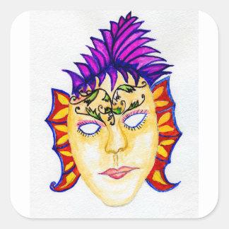 Adesivo Quadrado Aguarela 2 da máscara do carnaval