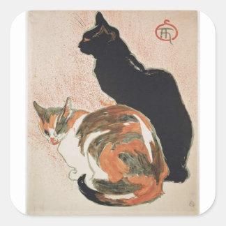 Adesivo Quadrado Aguarela - 2 gatos - Théophile Alexandre Steinlen