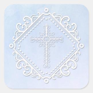 Adesivo Quadrado Aguarela azul Crucufix religioso