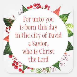 Adesivo Quadrado Aguarela do 2:11 de Luke da escritura do Natal