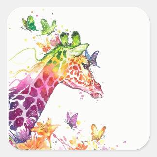 Adesivo Quadrado Aguarela do girafa