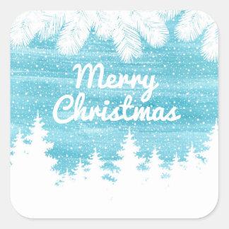 Adesivo Quadrado Aguarela do Natal | - pinheiros da neve