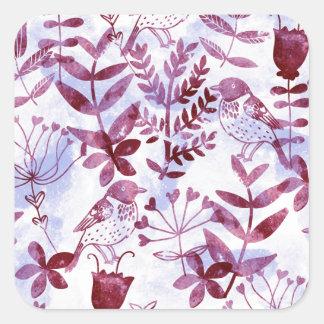 Adesivo Quadrado aguarela floral & pássaros II