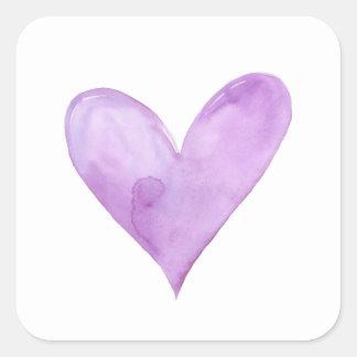 Adesivo Quadrado Aguarela Purple Heart, coração dos namorados