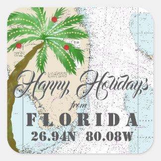 Adesivo Quadrado Aguarela tropical boas festas de Florida