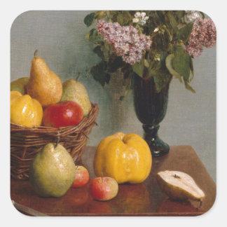 Adesivo Quadrado Ainda vida com flores e fruta