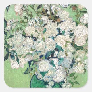 Adesivo Quadrado Ainda vida: Vaso com rosas - Vincent van Gogh