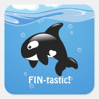Adesivo Quadrado Aleta-tastic pequena bonito da baleia da orca