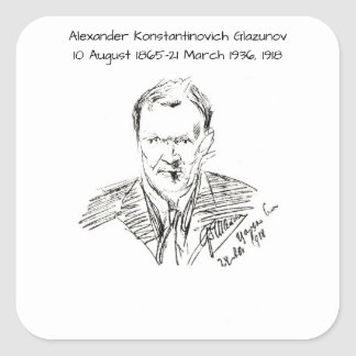 Adesivo Quadrado Alexander Konstamtinovich Glazunov 1918