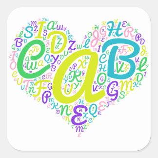 Adesivo Quadrado alfabeto do amor