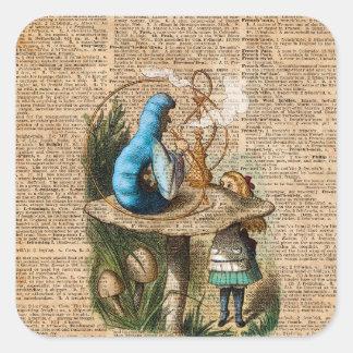 Adesivo Quadrado Alice, cogumelo e Jin, arte do dicionário do
