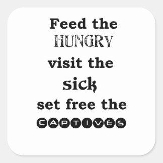 Adesivo Quadrado alimente à visita com fome o sik livre ajustado o