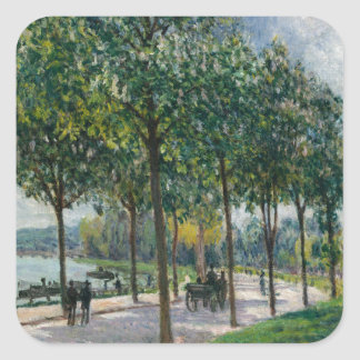 Adesivo Quadrado Allée de árvores de castanha - Alfred Sisley