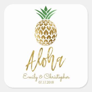 Adesivo Quadrado Aloha branco Wedding do abacaxi havaiano tropical