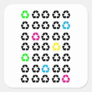 Adesivo Quadrado Amarelo azul do verde de néon do preto dos