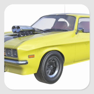Adesivo Quadrado Amarelo do carro de 1970 músculos com listra preta