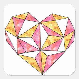 Adesivo Quadrado amarelo-Geo-coração-design