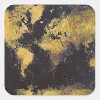 Adesivo Quadrado amarelo preto do mapa do mundo