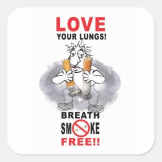 Adesivo Quadrado Ame seus pulmões - pare de fumar