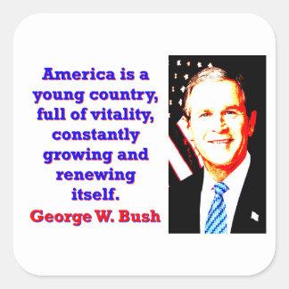 Adesivo Quadrado América é um país novo - G W Bush