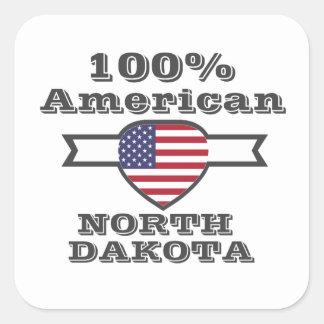 Adesivo Quadrado Americano de 100%, North Dakota