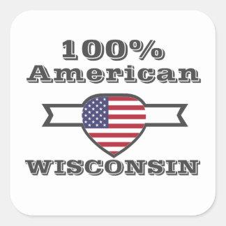 Adesivo Quadrado Americano de 100%, Wisconsin