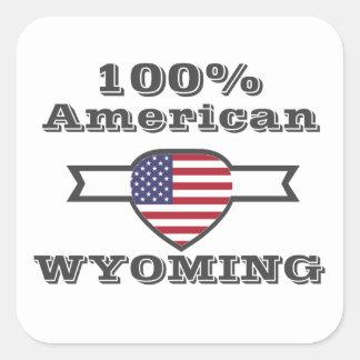 Adesivo Quadrado Americano de 100%, Wyoming