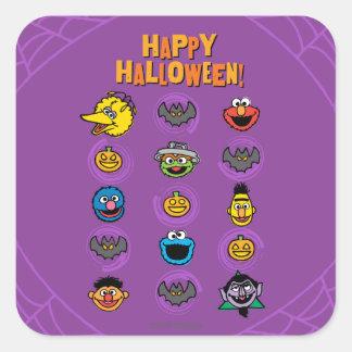 Adesivo Quadrado Amigos do Sesame Street - o Dia das Bruxas feliz!