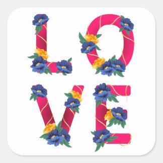 Adesivo Quadrado Amor cor-de-rosa floral com as flores azuis &