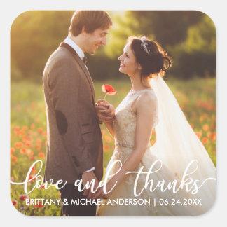 Adesivo Quadrado Amor e obrigado moderno do casamento dos obrigados