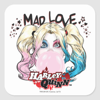 Adesivo Quadrado Amor louco Harley Quinn de Batman | que mastiga a