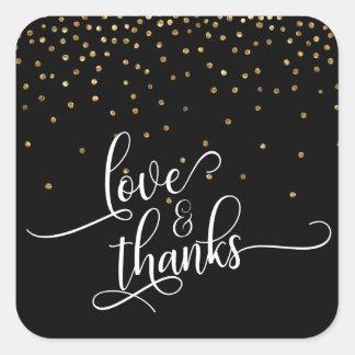 Adesivo Quadrado Amor & obrigados roteiro, confete no preto, 2 do