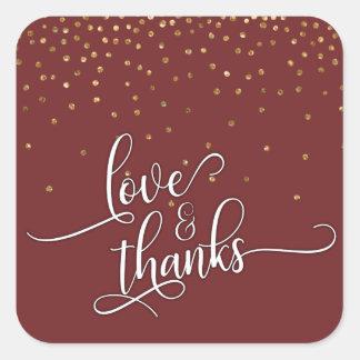 Adesivo Quadrado Amor & obrigados roteiro, confetes do ouro e