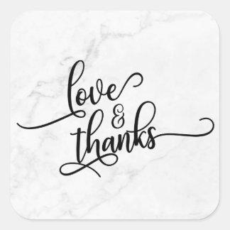 Adesivo Quadrado Amor & roteiro dos obrigados sobre o mármore