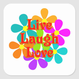 Adesivo Quadrado Amor vivo do riso do divertimento