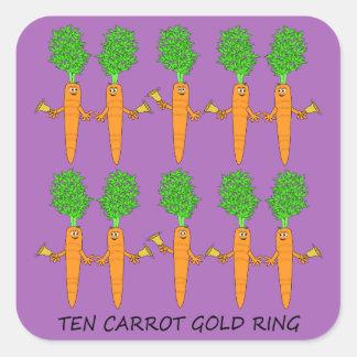 Adesivo Quadrado Anel de ouro de dez cenouras
