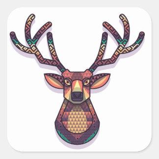Adesivo Quadrado animal dos cervos com chifres
