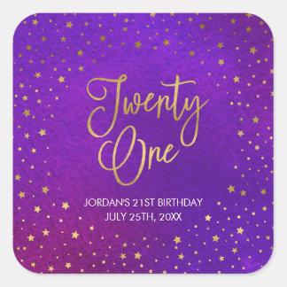 Adesivo Quadrado Aniversário de 21 anos roxo estrelado da aguarela