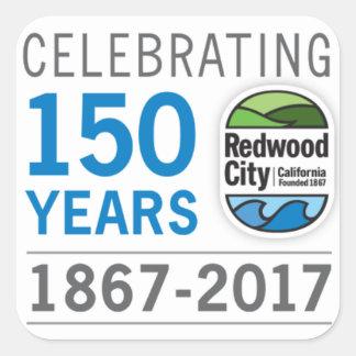 Adesivo Quadrado Aniversário de Redwood City 150th