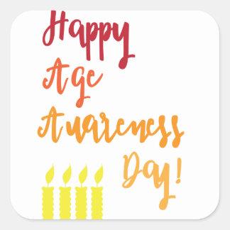 Adesivo Quadrado Aniversário engraçado do dia feliz da consciência