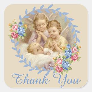 Adesivo Quadrado Anjo-da-guarda com a grinalda dos rosas de bebê