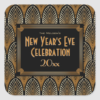 Adesivo Quadrado Ano novo modelado do estilo do art deco