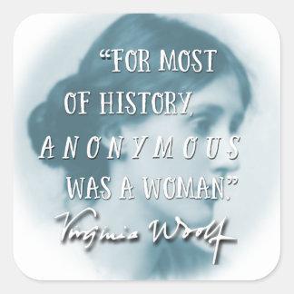 Adesivo Quadrado Anónimo era um azul das citações de Virgínia Woolf