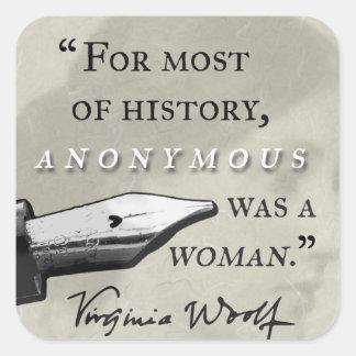 Adesivo Quadrado Anónimo era um circl das citações de Virgínia