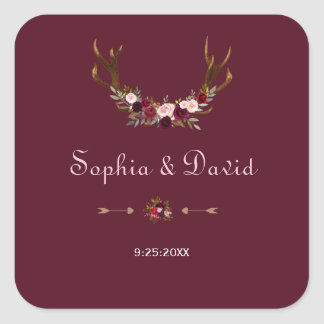 Adesivo Quadrado Antlers florais de Borgonha Marsala que Wedding